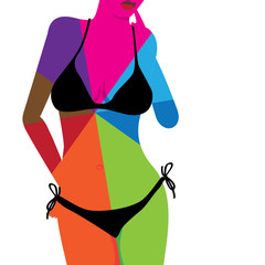 Multicolored hot woman body in bikini - illustration