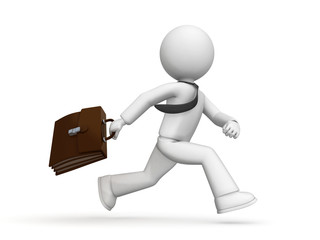 Buinessman running with case