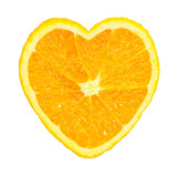 Slice of fresh orange heart shaped isolated on white background