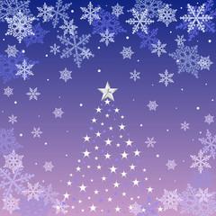 Crystal of snow and Christmas tree