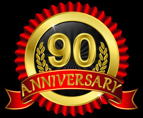 90 years anniversary golden label with ribbons