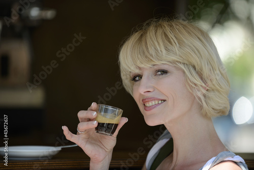 Woman having a coffee break