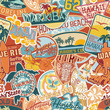 Hawaii stickers patchwork seamless pattern