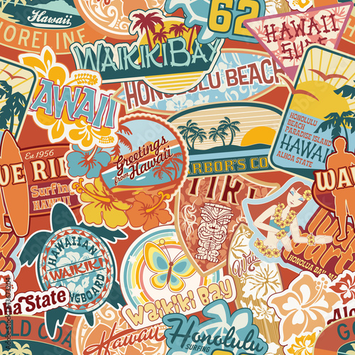 Hawaii stickers patchwork seamless pattern