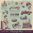 vector set: vintage toys - 43674611