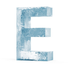 Icy Letters isolated on white background (Letter E)