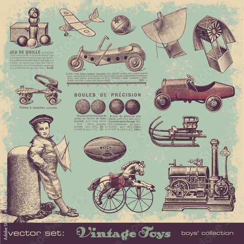 vector set: vintage toys