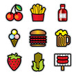 color food icons with contour