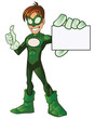 Green Super Boy Hero Thumb Up Showing Card