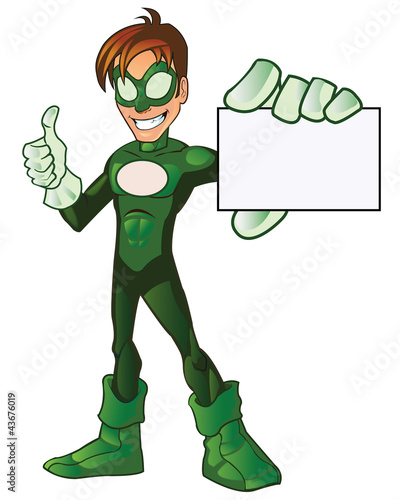 Green Super Boy Hero Thumb Up Showing Card