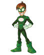 Green Super Boy Hero All Hands on Waist