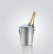 Bottle  champagne in  bucket with ice