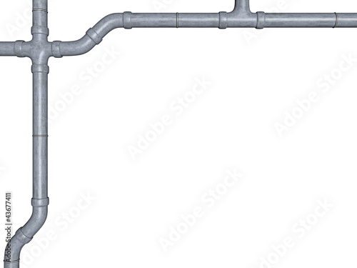 conduit in zinc optics on white background - 3D
