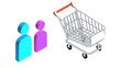 Shopping cart with man an woman icon