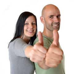 Paar mit Daumen hoch