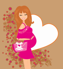 Beautiful pregnant woman on shopping for her new baby Vector