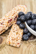 Muesli Bars with Blueberries in a bowl