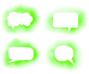 Graffiti green paint speech bubbles set