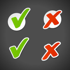Vector check mark stickers.