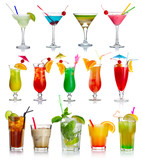 Fototapety Set of alcohol cocktails isolated on white