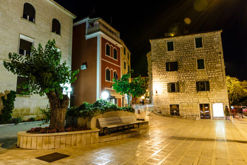 Night Street in Makarska, Croatia