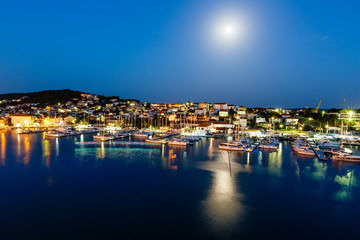 Aerial View on Illuminated Coast of Island Ciovo in the Night, C