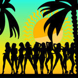 sexy and hot girls and palms vector silhouette ilustration poster