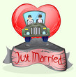 just married couple driving a car