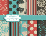 set of damask flower vector paper for scrapbook