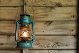 Rusty lantern hanging in a shed