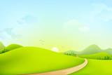 Fototapety vector illustration of green landscape of sunny morning