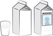 Milk cartons and glass of milk - 43686871