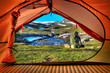 Camping in the Hardangervidda - Lookout through the Tent