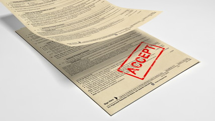 Printing two words - accept and reject.3d animation.