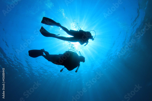 Tuinposter Duiken Couple Scuba Diving together