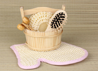Bathroom set on bamboo background