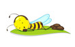 Editable vector of of bee sleeping on leaf