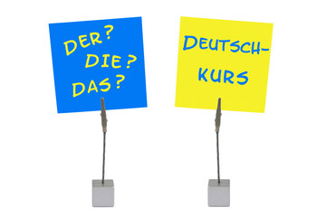 Notizhalter und Merkzettel: Deutschkurs