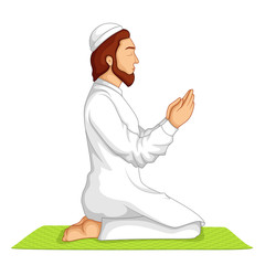 vector illustration of muslim offering namaaz on Eid