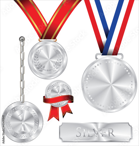 Vector illustration of silver medal