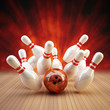 Leinwandbild Motiv Bowling Strike rot/orange