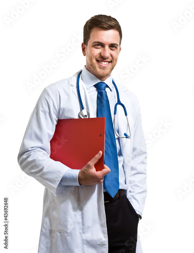 Portrait of an handsome doctor isolated on white