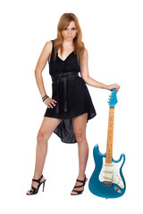 Teen rebellious girl with a electric guitar
