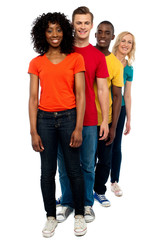 Line of casual friends dressed in colorful attires