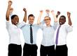 Business team of four celebrating success