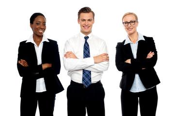 Successful happy business team posing