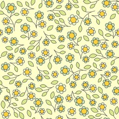 vector seamless pattern, leaves and flowers