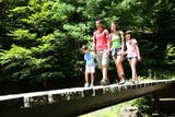 Fototapety Family walking on a bridge in mountain forest