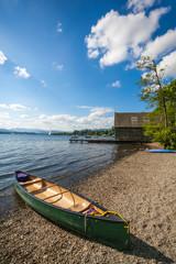 Canoe by a lake