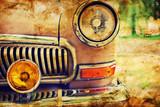 Fototapety Close-up photo of retro car headlights